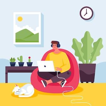 Scène de journée de travail à plat avec ordinateur portable