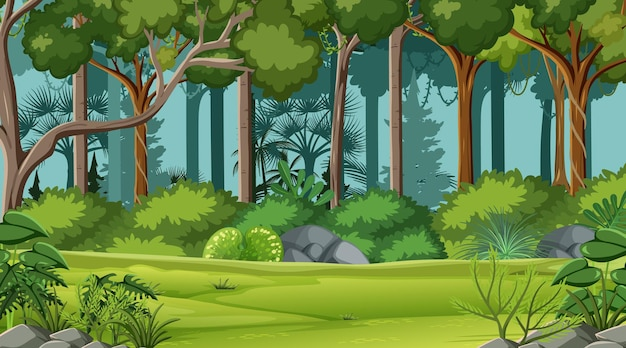 Scène de jungle avec divers arbres forestiers