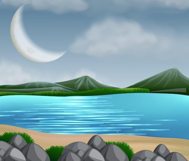 Scène de lac avec des montagnes