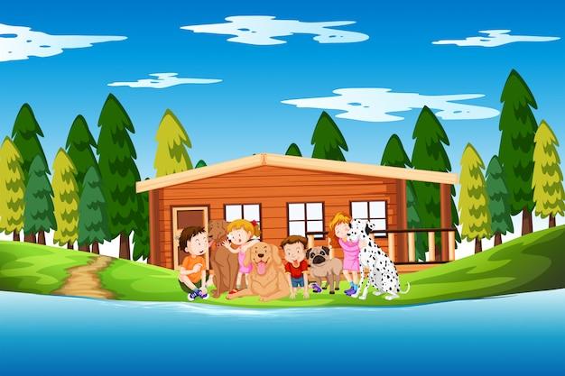 Scène de lac pour enfants et chiens