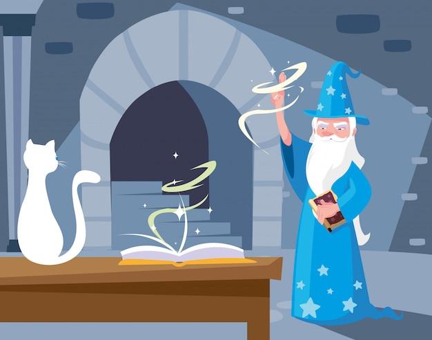 Scène de lair magicien avec chat blanc