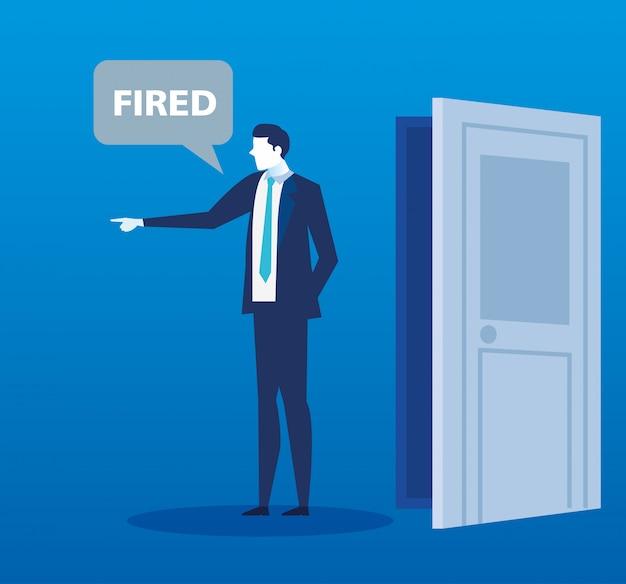 Scène de licencié du personnage d'avatar homme d'affaires