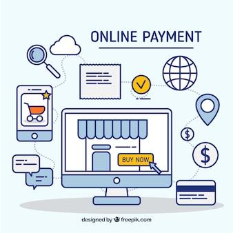 Scène linéaire sur le paiement électronique