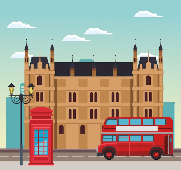 Scène de londres avec bâtiment, cabine téléphonique et bus sur ciel