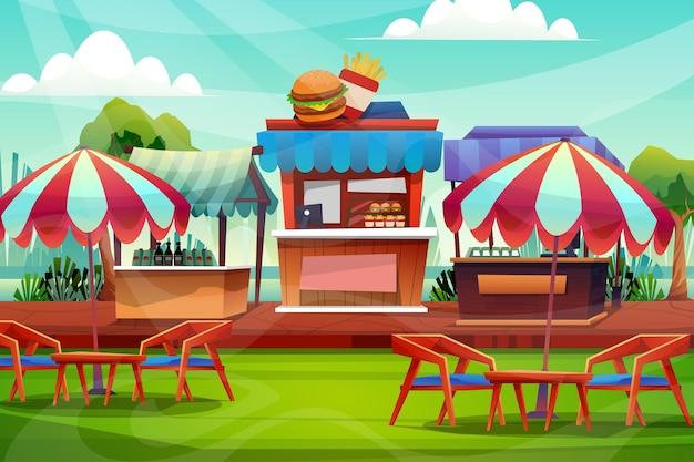 Scène d'un magasin de boissons ou d'une chaise de salle d'exposition avec table basse et parapluie près de la pelouse verte dans le parc naturel