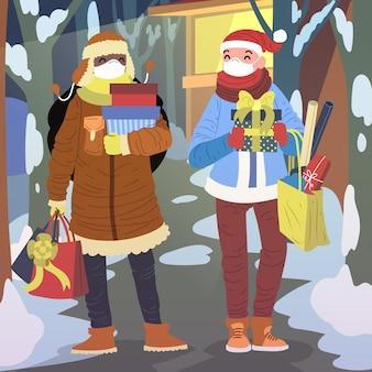 Scène De Magasinage De Noël Portant Des Masques Vecteur gratuit