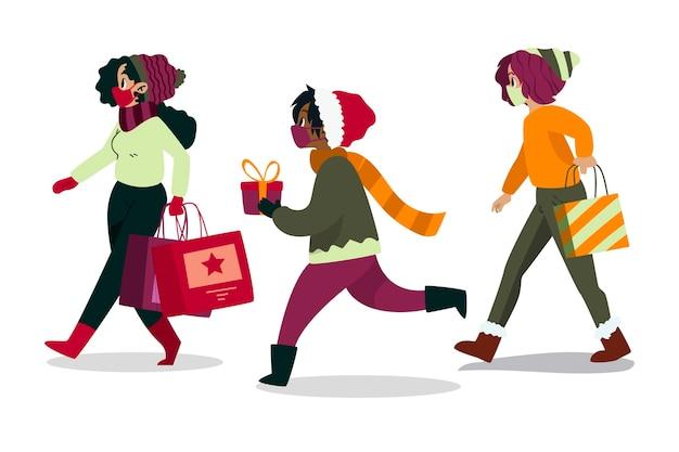 Scène De Magasinage De Noël Portant Des Masques Vecteur Premium