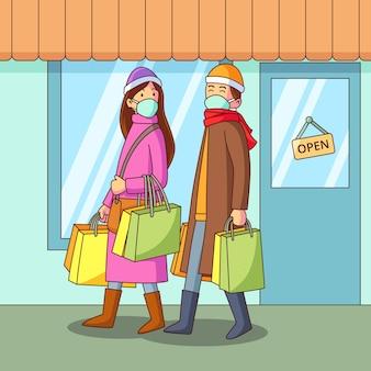 Scène de magasinage de noël portant des masques