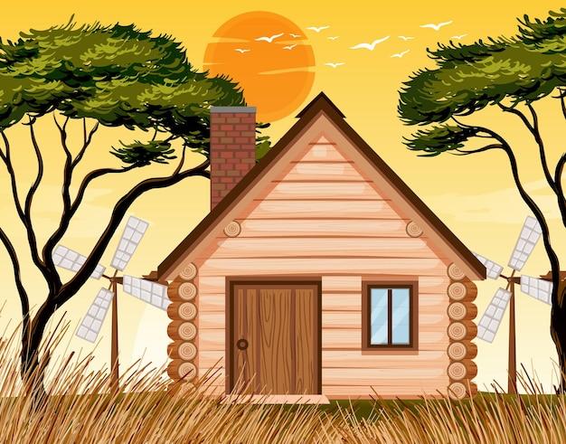Scène de maison au coucher du soleil