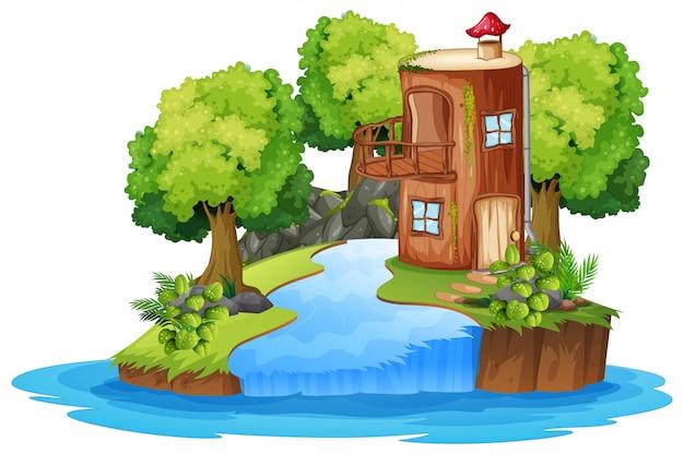 Scène de maison de bois fantaisie
