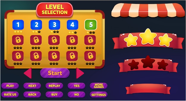 Scène de menu de jeu de sélection de niveau avec boutons de jeu, barre de chargement et gagnez des étoiles perdantes