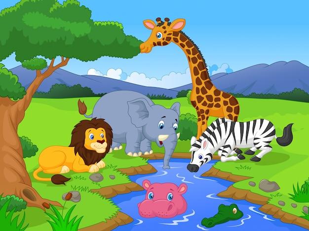 Scène mignonne de personnages de dessins animés de safari africain