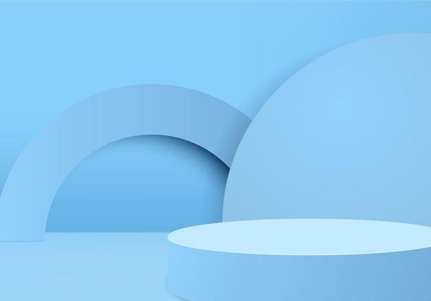 Scène minimale abstraite de cylindre avec plate-forme géométrique. vitrine de scène d'été sur piédestal studio 3d moderne pastel bleu