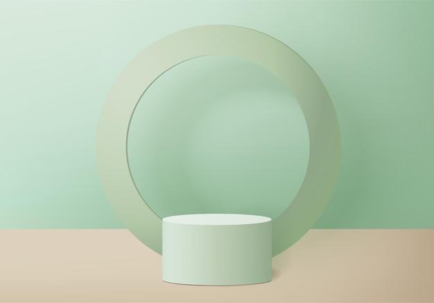 Scène minimale abstraite de cylindre avec plate-forme géométrique. vitrine de scène d'été sur piédestal studio 3d moderne pastel vert