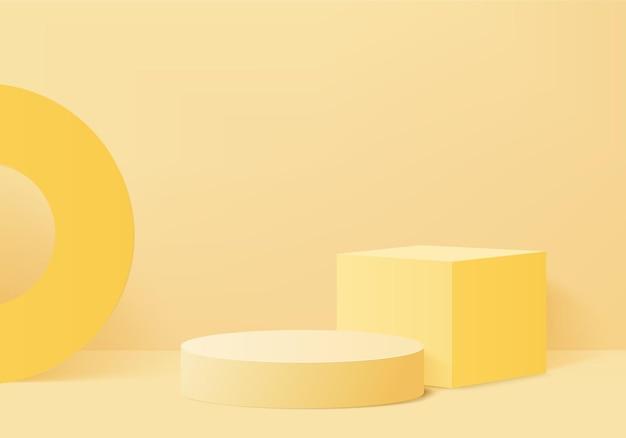 Scène minimale abstraite de cylindre avec plate-forme géométrique