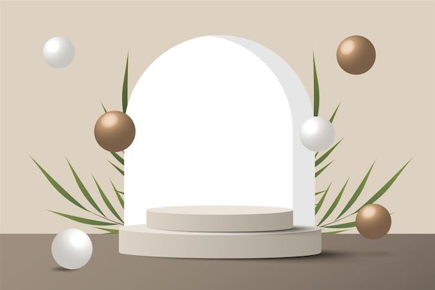 Scène minimale abstraite sur fond pastel avec podium cylindre et feuilles. vitrine de maquette de scène pour produit, bannière, vente, présentation, cosmétique et remise. 3d