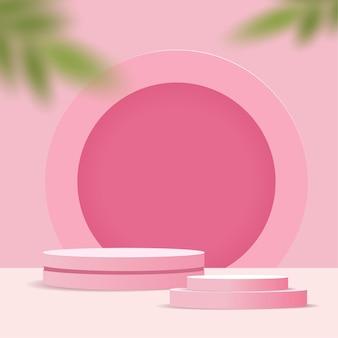 Scène minimale abstraite sur fond pastel avec podium cylindre et feuilles.
