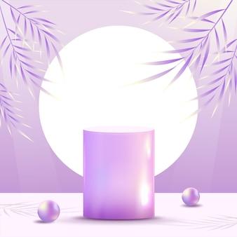 Scène minimale abstraite sur fond pastel avec podium en verre brillant cylindrique et feuilles. vitrine de maquette de scène pour produit, bannière, vente, présentation, cosmétique et remise. illustration vectorielle 3d.