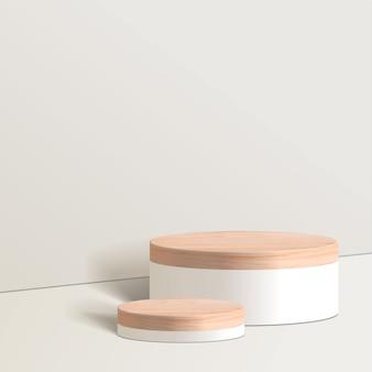 Scène minimale abstraite avec des formes géométriques. cylindre blanc podium en fond blanc. présentation du produit, maquette, spectacle de produit cosmétique, podium, socle de scène ou plateforme. 3d