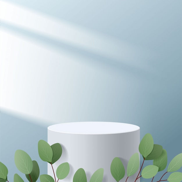 Scène minimale abstraite avec des formes géométriques. cylindre blanc podium en fond bleu avec des feuilles. présentation du produit, maquette, spectacle de produit cosmétique, podium, socle de scène ou plateforme. 3d