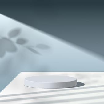 Scène minimale abstraite avec des formes géométriques. cylindre podium blanc avec des feuilles. présentation du produit. podium, socle de scène ou plateforme. 3d