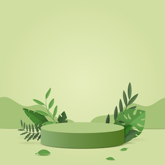 Scène minimale abstraite avec des formes géométriques. cylindre podium dans la nature fond vert avec des feuilles de plantes vertes.