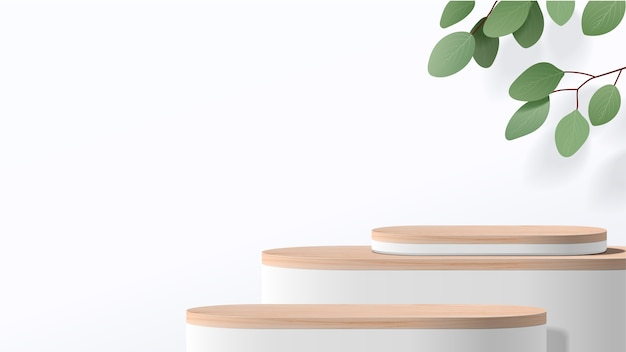 Scène minimale abstraite avec des formes géométriques. podium blanc avec des feuilles. présentation de produit, affichage de produit cosmétique, podium, piédestal de scène ou plate-forme.