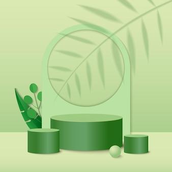 Scène minimale abstraite avec des formes géométriques. podium cylindrique avec des feuilles de plantes vertes.