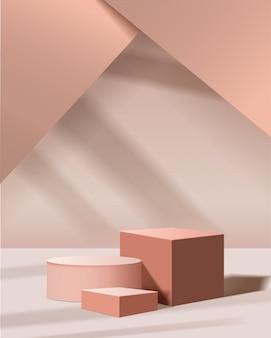 Scène minimale avec des formes géométriques. podiums cylindriques et cubiques avec lumière du soleil. scène pour montrer le produit cosmétique, vitrine, devanture, vitrine. illustration 3d.