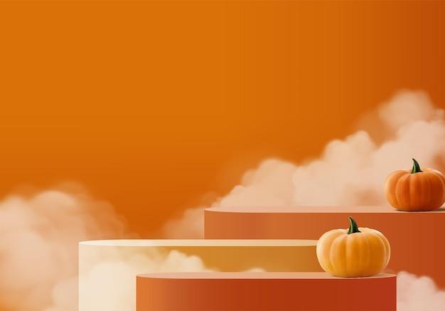 Scène minimale d'halloween 3d avec plate-forme de fumée et de podium. rendu 3d de vecteur de fond halloween avec podium citrouille. stand pour montrer les produits. vitrine de scène sur piédestal pastel orange citrouille moderne