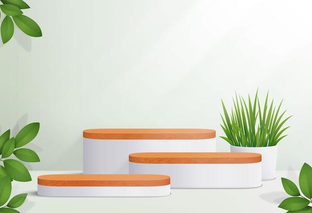 Scène minimale avec podium en bois