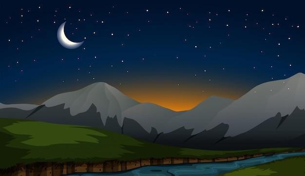 Scène de montagne la nuit
