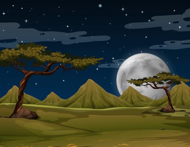 Scène avec des montagnes la nuit