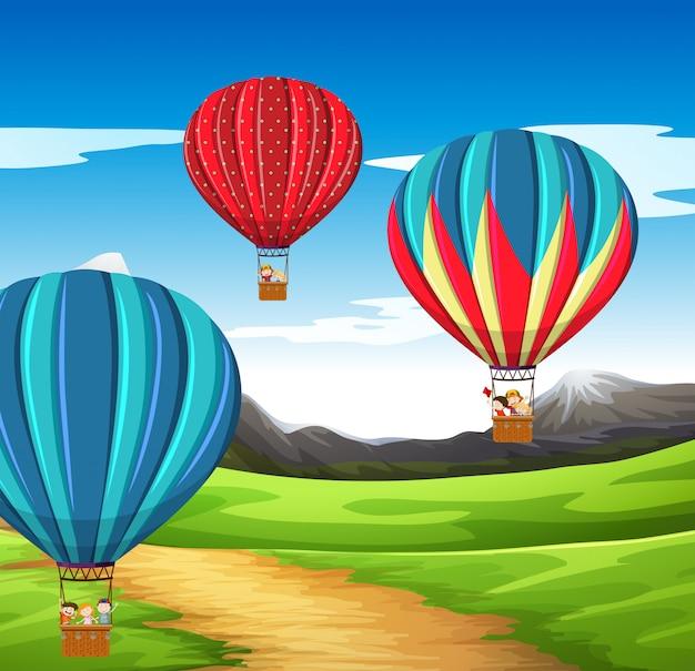 Scène de montgolfière