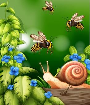 Scène de la nature avec des abeilles et des escargots