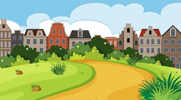 Scène de la nature avec les bâtiments de la ville et le parc