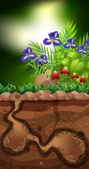 Scène de la nature avec des champignons et des fleurs