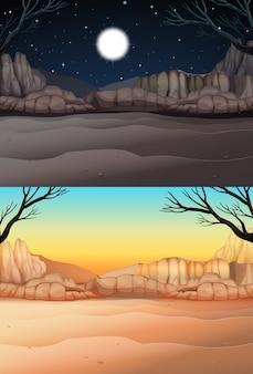 Scène de la nature avec le désert au jour et la nuit