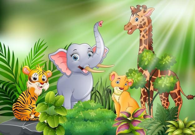 Scène de la nature avec dessin animé d'animaux sauvages