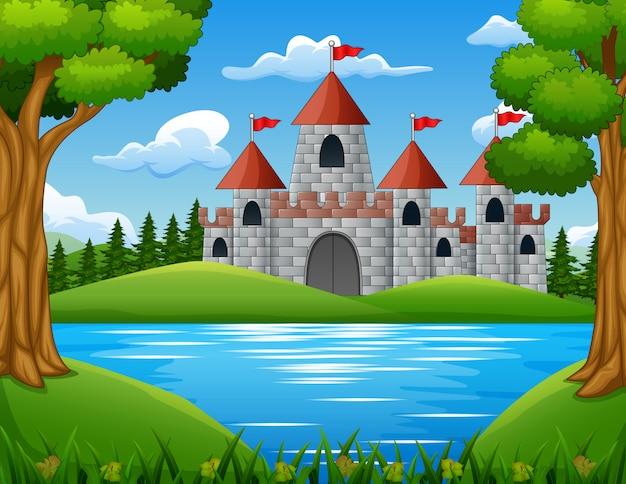 Scène de la nature devant le fond du château