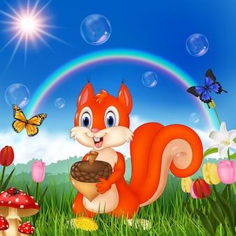 Scène de la nature avec l'écureuil tenant un accorn