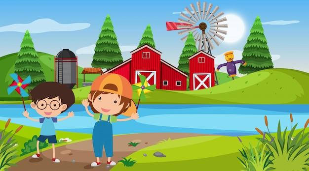 Scène de la nature avec des enfants à la ferme