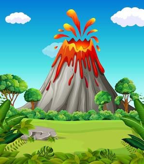 Scène de la nature de l'éruption du volcan