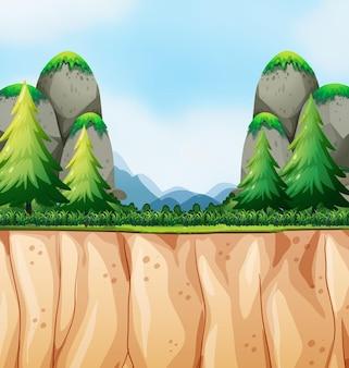 Scène de nature avec falaise et montagne