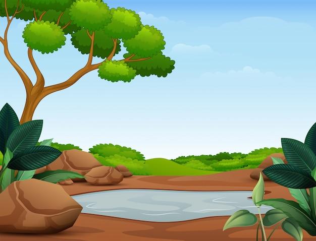 Scène de la nature avec une flaque d'eau boueuse