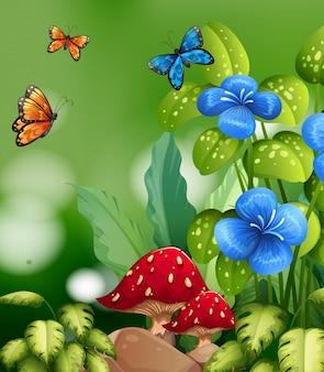 Scène de la nature avec des fleurs et des papillons colorés