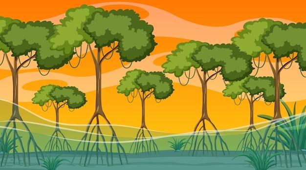 Scène de nature avec la forêt de mangrove au coucher du soleil en style cartoon