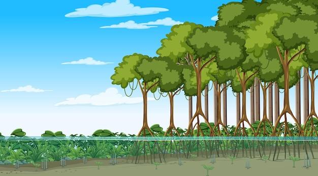 Scène de nature avec forêt de mangrove en style cartoon