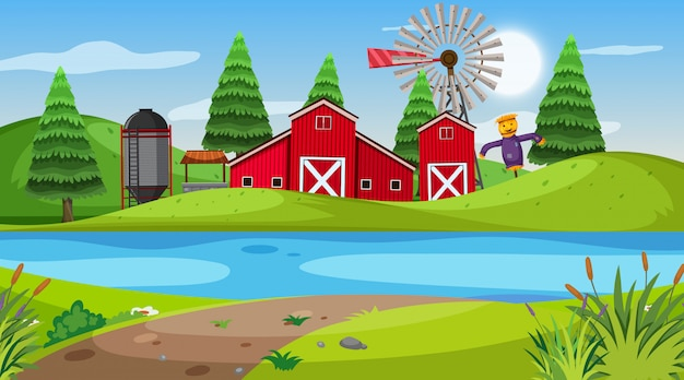 Scène de la nature avec une grange rouge sur les terres agricoles