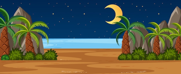 Scène nature horizon ou campagne paysage avec palmiers par la vue sur la plage et la lune dans le ciel la nuit